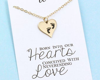 Adoption Jewelry . New Mom Gift . Heart Necklace . Baby Footprint . 14k Gold Filled . ALSO IN SILVER