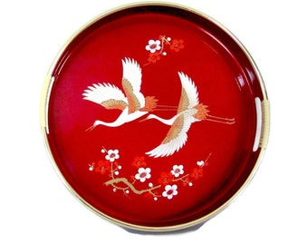 Vintage Red Lacquer Tray, 1960's Asian Drink Tray, Mid Century Decor