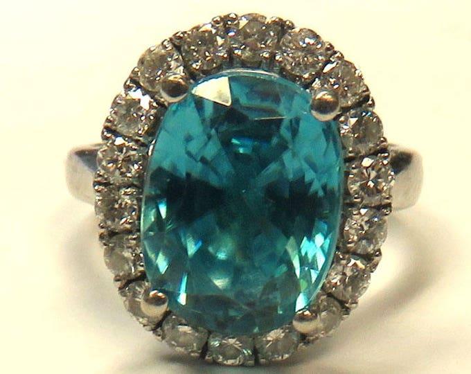 Genuine Blue Topaz & Diamond WG Ring