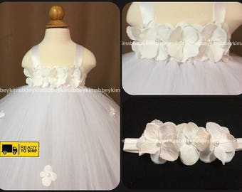 Beautiful baby girl first birthday tutu dress in white with hydrangea flowers