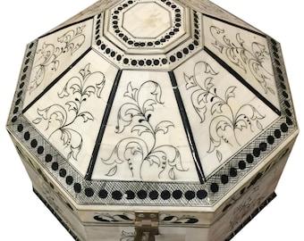 Bone Inlay Box With Fine Work Handmade Jewelry Storage Box