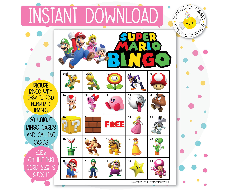 Super Mario Printable Bingo Cards 20 Different Cards