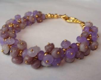 Alexandrite and Lavendar Stone Cluster Bracelet in 14K Gold Vermeil