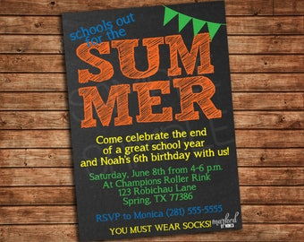 Schools Out For the Summer, End of the year,Birthday,Invitation,Digital Printable,School Year,Chalkboard,Announcements,Invite,Party supplies