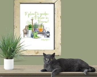 To plant a garden is to believe in tomorrow. Audrey Hepburn quote. Watercolor gardening vignette with green text, Lemon Drop Images