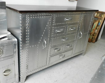 Aviator Metal Cabinet of Drawers with Wood Top