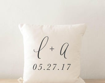 Personalized Throw Pillow - Two Initials and Special Date, wedding, engagement gift, newlywed, wedding shower, throw, cushion cover