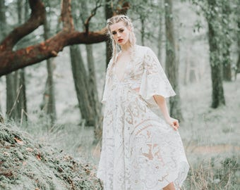 Made to Order:One of a kind boho lace dresses with cutout bodice and statement sleeves (dress in photo size xs-sm)
