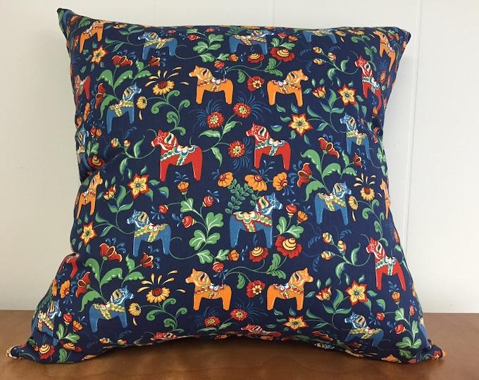 Swedish Dala Horse Pillow Cover Blue