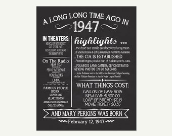 The Year 1947, Personalized 70th Birthday Printable Poster, Printable 70th Birthday Sign, Fun Facts 1947, 70th Birthday Gift, Digital File