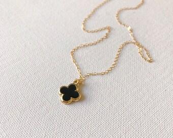 Black Quatrefoil Necklace