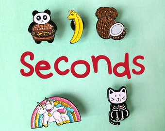 Seconds sale enamel pins, pins, seconds pins, fun pins, funny pins, cute animal pins, pins and patches, cute pins, brooch, soft enamel pins
