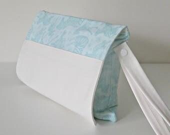Aqua blue zebra pattern nappy clutch, nappy wallet, diaper wallet, diaper clutch, nappy bag, diaper bag,