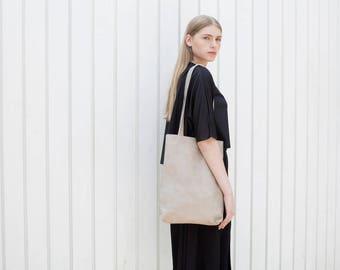 Stone Leather Tote, Open Tote in Medium Size, Women Bag - Stone Kenton