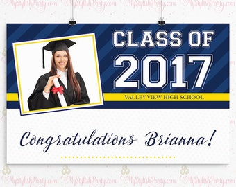 Graduation Backdrop, Personalized Graduation Banner, Grad Poster Pick Up to 2 Custom Colors