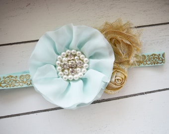 Handcrafted Aqua and Gold Headband - Whimsical Toddler Headband - Aqua and Gold Easter Headband - Fancy Headband - Baby Girl Bows - Sparkle