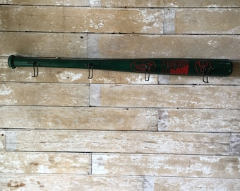 Wooden Vintage Mountain Dew Baseball Bat Cap or Coat Rack  Red an Green