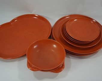 Branchell Melmac ORANGE Melamine Dishes, Vintage Plastic Dishes, Garden, Pool, Summer Picnic Dishes, Camper, 10 pcs, Free Ship