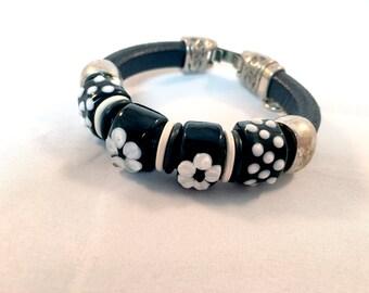 Leather Bracelet - Pandora Style Bracelet - Beaded Bracelet - OOAK Bracelet - Flower Bracelet