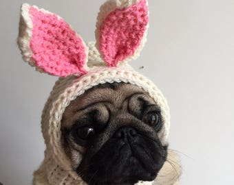 Pug Hat - Pug Balaclava - Easter Bunny Hat - Pet Clothes - Dog Clothing - Dog Hat