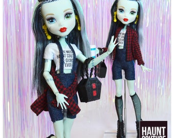 "Monster Doll Haunt Couture 2017 ""Cool Ghoul"" high fashion doll clothes overalls"