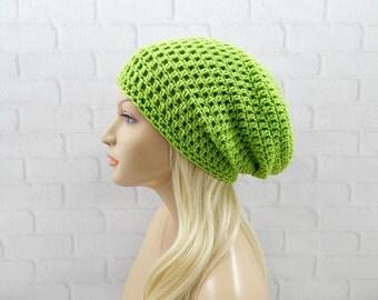 Lime Green Beanie Hat, Slouch Hat, Baggy Beanie Hat, Skater Hat, Vegan Crochet Hat, Winter Hat, Womens Hat, Crochet Slouchy Hat