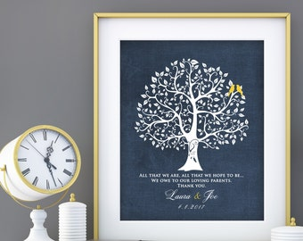 Parent Wedding Gift, Brides Parents, Grooms Parents, Mother of the Groom, Mother of Bride, Wedding Tree Art Print custom colors 8x10 print