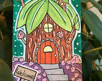 ACEO Original Watercolor Painting - Artist Trading Card - Fairy Tale House, Illustration
