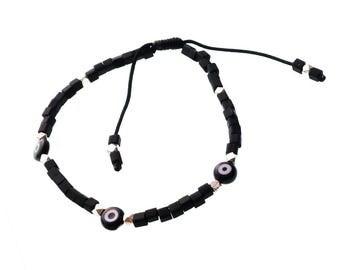 Evil Eye Bracelet/Black Evil Eye/ Turkish Evil Eye/ Silver Beads/ Sliding Knot/ For Men/ For him/ For Her/ Father's Day