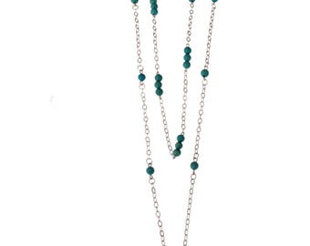 Double Necklace/ Chain With Synthetic Turquoise