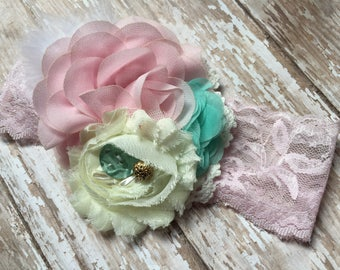 Light pink, mint, cream and gold vintage look baby headband, feather accent, shabby chic flower, mint button and gold accent, lace headband