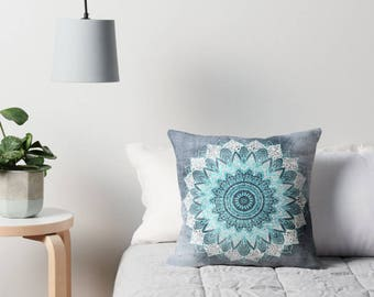 BOHOCHIC MANDALA BLUE Throw Pillow