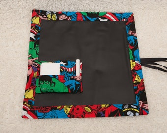 Superhero, Travel Chalkboard, Chalkboard Mat, Roll Up Chalkboard, Child Chalkboard, Kid's Chalkboard, Lap Chalkboard, Chalkboard, Quiet Book