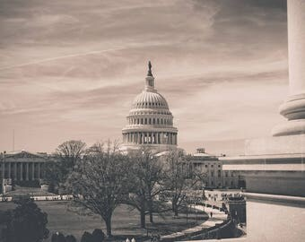 DC Fine Art Photography, Washington dc Photo, Capitol Building in Winter, US Capital Art, USA Souvenir, District of Columbia, travel photo