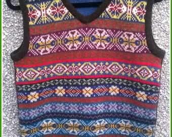 Fair isle vest,Shetland vest.Shetland wool vest,Fair isle sleeveless top.striped back