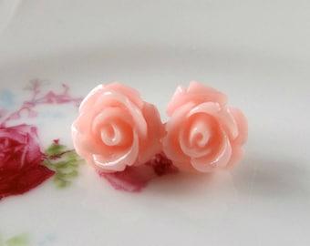 Tiny pink rose earrings, resin rose studs, pink flower earrings, little girl earrings