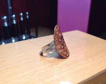 Copper and sterling silver galaxy ring size 6-1/4