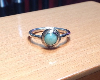 Amazonite and sterling silver stacking ring. Size 7-1/2