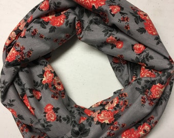 Gray/Coral Floral Cotton Jersey Infinity  Scarf