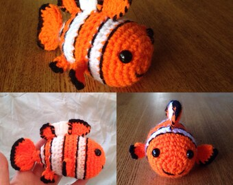 Handmade Crocheted Clown Fish (from Finding Nemo)