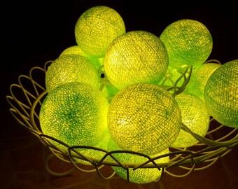 X'mas Lime Cotton Ball Lights for home decoration,wedding patio,indoor string lights,bedroom fairy lights,20 Bulbs