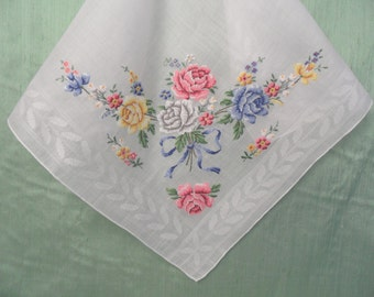 Embroidered floral bouquet handkerchief / petit point needlepoint hankie