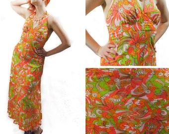 Neon Floral Maxi Dreses