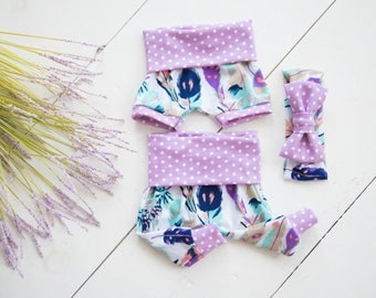 Baby Girl Clothes, Summer, Coming Home Outfit, Baby Shower: Feather Print Shorties Shorts or Legging Pants and Headband