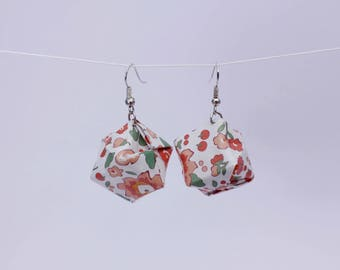 SALE Origami Box Earrings - Red Floral