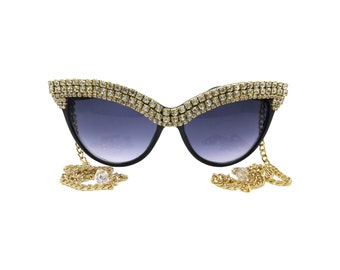 Crystal Rhinestone Embellished Cat-Eye Sunglasses - GARBO