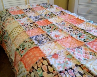 Rag Quilt, Bohemian Coral Gray Aqua Pink Rose Feathers Arrows Gold Tribal Roses Girl Twin Bedding Shabby Chic Style Bohemian Boho