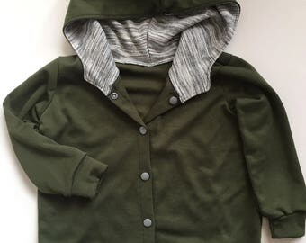Olive Sweatshirt Cardigan