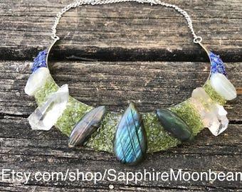 Labradorite Metaphysical Princess Peridot Quartz Crystal Moonstone & Lapis Lazuli wedding collar necklace gypsy fairytale pagan jewelry