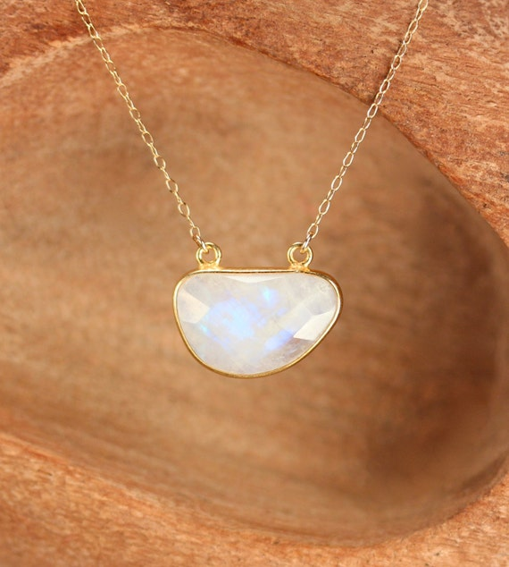 Rainbow moonstone necklace / bean necklace / june birthstone / blue flash / a gold bezel set moonstone on a 14k gold filled chain